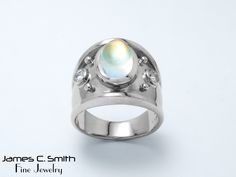 Moonstone set in 14k white gold mounting. #june #moonstone #jewelry