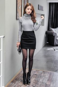 Turtle-Neck Mesh-Trim Knit Top + Wool Blend Pencil Miniskirt (vivaruby)