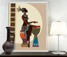 African Woman Art Afrocentric Art African Wall Art by iQstudio African Wall Art, African Artwork, African Art Paintings, Black Art Painting, Painting Of Girl, African American Art, African Women, Art Mural Africain, Art Noir