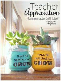 Darling Teacher Appreciation Gift Idea - Homemade little Succulent Pots that say 'thanks for helping me GROW!' {Reality Daydream}