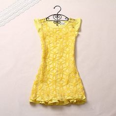 Lovely! Yellow embroidery organza dress #girl #summer #fashion #dress #shopping #China #coniefox #2016prom