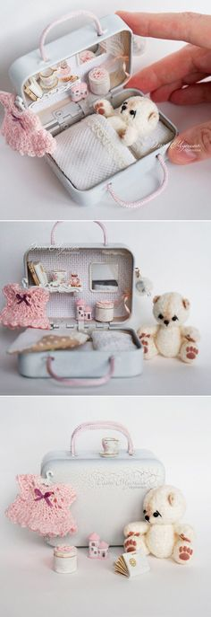 New sewing box ideas altoids tins ideas Cute Crafts, Diy And Crafts, Craft Projects, Sewing Projects, Crafts For Kids, Crochet Projects, Sewing Crafts, Miniature Crafts, Miniature Dolls