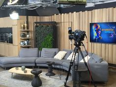 Lemon Standing Living Green Wall on display on the new SABC Espresso TV set. Only two varieties of plants being used, namely, Pepperomia and fine leaf nephrolepsis.