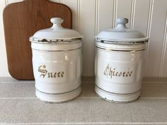 French Enamelware Canisters White Storage by SunnyHillVintage