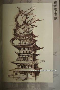 Razvan Warrior Tattoo, Japanese Art, Japanese Temple, Samurai Tattoo Design, Buddha Tattoo Sleeve, Temple Tattoo, Samurai Artwork, Japanese Tattoo Art, Japanese Temple Tattoo
