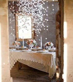 Turn marshmallow garlands into a winter wedding party decoration.