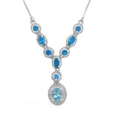 Liquidation Channel | Paraiba Apatite, Malgache Neon Apatite, and Diamond Necklace in Platinum Overlay Sterling Silver (Nickel Free)