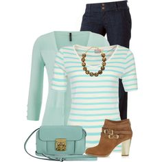 Mint Cardigan by daiscat on Polyvore featuring moda, ONLY, Jimmy Choo, Chloé and Kenneth Jay Lane