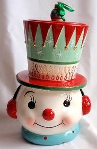 Snowman cookie jar from It's a Vintage Life