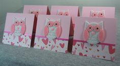 Owl Valentines Blank Note Cards 3x3 6 - for sale on artfire