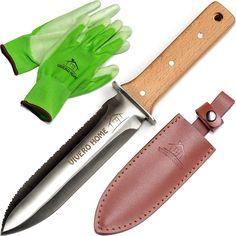 Amazon.com : Vivero Home Exclusive Set - Multi-Purpose Japanese Hori Hori Garden Knife + Bamboo Gloves + Leather Sheath. Stainless Steel Blade + Handguard. Garden Tool for Gardening, Landscaping, Digging, Weeding : Patio, Lawn & Garden