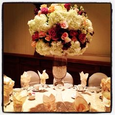 Flowersbyamore.com #wedding #pearls #centerpiece #romantic