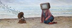 Muse Of The Sea | 133 x 53 cm | Acrylic Paint, Oil Pastel, Watercolour Pencil and Ballpoint Pen On Hardboard | ® Krzysztof Polaczenko 2016