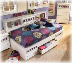 Zayley Twin Bedside Bookcase Daybed with Customizable Color Panels by Ashley Furniture Signature Design at Del Sol Furniture Leather Furniture, Bed Furniture, Wolf Furniture, Dream Furniture, Furniture Ideas, Bookcase Headboard, Nebraska Furniture Mart, Vintage Design, At Home Store