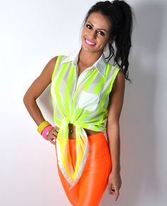 Neo Strip Yellow and White Chiffon Blouse
