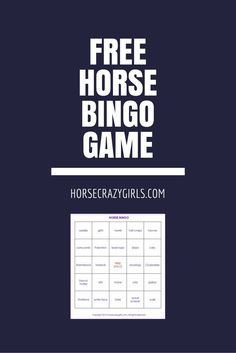 Enjoy our free horse bingo game from HorseCrazyGirls.com! It's a fun game for a horse themed birthday party, or just for a rainy day when you can't ride but want to think about horses.
