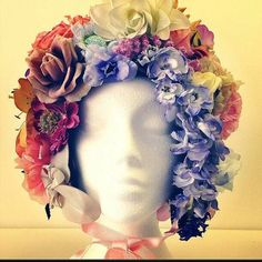#head #bonnet #flower #floral #spring #headpiece #helmet #hat #flowerpower