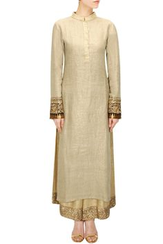 Beige shimmer kurta with sequins embroidered pants available only at Pernia's…