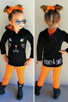 Black Cat Orange Plaid Hoodie Set | Sparkle In Pink Little Girl Outfits, Kids Outfits, Cute Outfits, School Outfits, Casual Outfits, Halloween Outfits, Holiday Outfits, Beast Mode, Plaid Hoodie