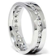 Mens 1.25CT Diamond Eterntiy 14K White Gold Band « Holiday Adds