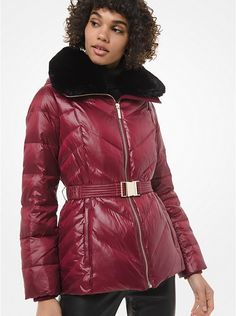 Burgundy Faux Fur-Trim Chevron-Quilted Belted Jacket.  Lightweight yet warm, this sleek burgundy puffer jacket boasts insulating down fill and is accented with a luxe faux fur collar and a waist-defining belt.   #Fashion #LookBook #OutfitOfTheDay #LookOfTheDay  #Fashionable #FashionStyle  #FashionAddict #FashionLover #Fashionista #FashionStylist