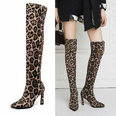 Overkneestiefel Damen Leopard Schuhe Spitz Zehe Boots High Heels Nachtclub 34-48