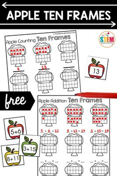 This apple ten frame activity is perfect for learning numbers to 20 and also addition. Kids will pick a card, stamp the number on a ten frame and then write the numeral. if students are ready for addition they do the same but with an equation! Perfect for differentiation with all levels of learners! #numbers #equations #numbersentences #tenframes Math Literacy, Literacy Activities, Fun Math, Math Resources, Literacy Centers, Ten Frame Activities, Apple Activities, Autumn Activities, Teen Numbers