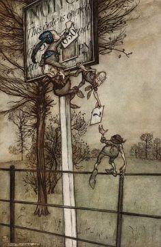 "✽ arthur rackham - 'peter pan in kensington gardens' by j m barrie ""these tricky fairies sometimes change the board on a ball night"" Arthur Rackham, J M Barrie, Vintage Fairies, Pixie, Fairytale Art, Children's Book Illustration, Book Illustrations, Vintage Children's Books, Goblin"