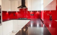 Signal red glass kitchen splashback by creoglass design (london,uk). Red And White Kitchen, White Kitchen Decor, Red Kitchen, Kitchen Themes, Glass Kitchen, Kitchen Colors, Kitchen Design, Kitchen Ideas, Kitchen Collection