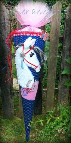 Schultüten - Schultüte Pferd Blau 85cm - ein Designerstück von annicolt bei DaWanda