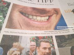 From Sunday's paper in Toronto. The city is happy that Michael is attending this year's TIFF. They LOVE his smile too.