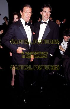 Timothy Dalton with Roger Moore at the Cannes Film Festival 1991