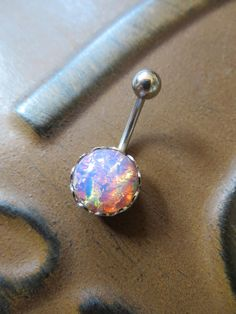 Pink Fire Opal Belly Button Jewelry Ring Stud by Azeetadesigns #azeeta, #designs, #opal, #belly, #ring
