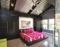 Bedroom Pink And Black Bedroom Design, Pictures, Remodel, Decor and Ideas. Love the Marimekko bedding.