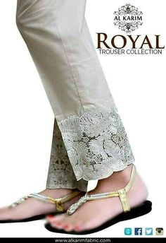 Beautiful Lace detail on Pants w/ flats chappal. via Stitch on your own lace trim or fabric. Salwar Designs, Blouse Designs, Lace Pants, Women's Pants, Beige Pants, Pleated Pants, Salwar Pants, Anarkali Suits, Diy Clothes