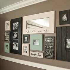 I love to decorate with chalk paint.  It is so easy to add color and it sticks to just about everything!  I used it on my photo wall, on the few blue picture frames, just to add a bit of color and help carry your eyes through out the entire wall!  I have used chalk paint on many other projects as well!  Head to my blog for some more ideas! #photowall #chalkpaint #interiordecor #interiordesign #startathome #duckegg #paintedframes