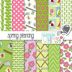"""Garden Digital Paper - """"Spring Planting"""" - pink and green scrapbook paper - seamless flower, seedling, and hoe patterns - commercial use"""