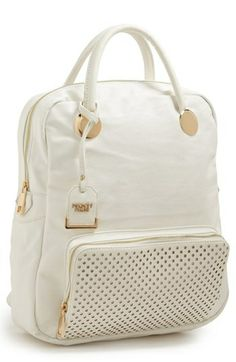 POVERTY FLATS by rian Perforated Trim Faux Leather Backpack