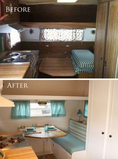Vintage Camper Remodel, If you're going to undertake an RV remodel diy is the thing to do. In truth, it was among the very first things we did on our remodel. RV remodels are. Interior Motorhome, Rv Interior, Interior Ideas, Interior Design, Astuces Camping-car, Kombi Trailer, Rv Kitchen Remodel, Camper Renovation, Caravan Renovation Before And After