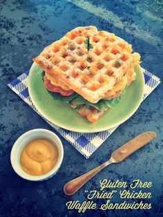 """Fried """"Chicken"""" Waffle Sandwiches. (With directions to make Gluten/Egg Free or Paleo.)"""