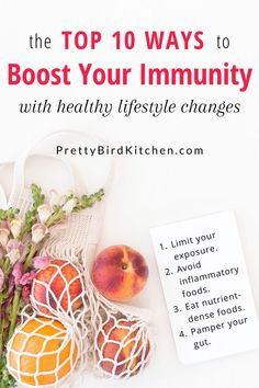 The top 10 ways to boost your immune system with healthy diet and lifestyle changes! Improve your immunity with simple and sustainable tips like eating nutrient dense whole plant foods, avoiding inflammation foods, getting quality sleep, and more. Health And Fitness Tips, Health And Wellness, Health Tips, Fitness Gear, Fitness Diet, Fitness Motivation, Holistic Nutrition, Nutrition Education, Diet And Nutrition