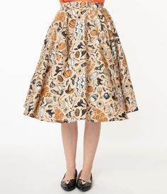 Retro Cream Halloween Print High Waist Swing Skirt – Unique Vintage