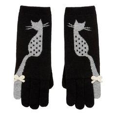 Gloves - Luxury Wool Mix - Dotty Grey Cat With White Woollen Bow