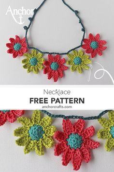A beautiful crochet necklace with adorable and colourfull flowers . A beautiful crochet necklace with adorable and colourfull flowers by Carmen Heffernan Crochet Necklace Pattern, Crochet Jewelry Patterns, Crochet Headband Pattern, Crochet Collar, Crochet Bracelet, Hand Embroidery Patterns, Crochet Designs, Crochet Earrings, Crochet Jewellery