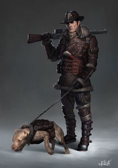 hunter by Erikas Perl on ArtStation. Character Concept, Character Art, Concept Art, Character Design, Character Reference, Post Apocalypse, D20 Modern, Mtg Art, Fallout New Vegas