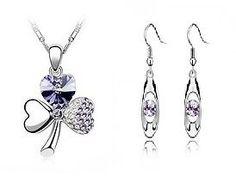 18k White GP Purple Crystal Fashion Jewellery Set Neckace &Earrings