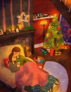 ♥ PERFECT CHRISTMAS EVE ~ We sipped warm drinks while listening to Christmas carols and, of course, snuggling in front of the lighted Christmas tree. ♥ by Puuung at www.grafolio.com/works/253615 ♥