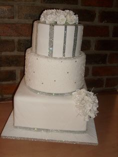 A  3 tier bling cake