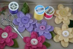 felt flower pins in progress #felted #sweaters #upcycle
