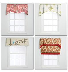 McCall's Pattern Window treatments with design variations. A: Patchwork Fabric Valance. B: Quilt Square Valance. C: Bird on a Branch Valance with Sheer Panels. D: Ribbon Valance with Roman Shade. Valance Patterns, Valance Ideas, Custom Valances, Mccalls Patterns, Sewing Patterns, Custom Window Treatments, Blinds For Windows, Diy Windows, Large Windows